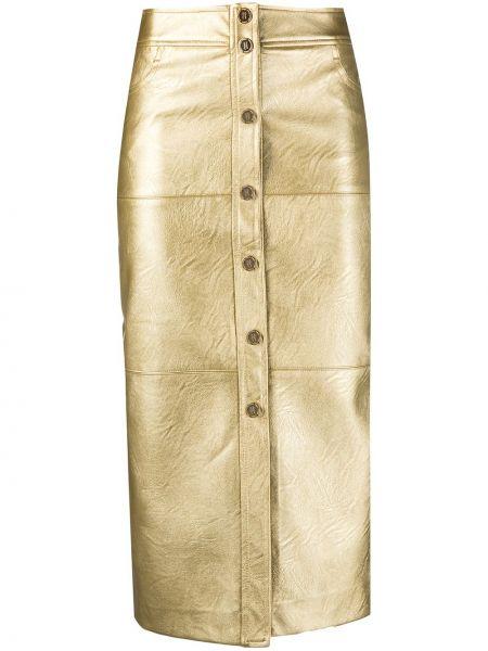 Złota spódnica ołówkowa zapinane na guziki Pinko