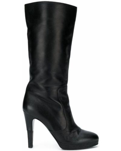 Сапоги на высоком каблуке черные на каблуке Chanel Vintage