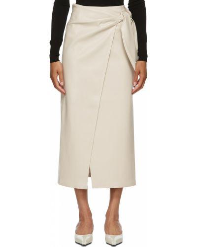Кожаная юбка - белая Nanushka