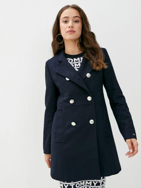 Синее пальто двубортное Tommy Hilfiger