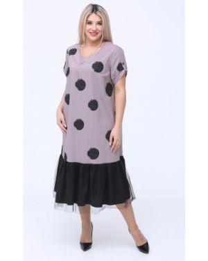 Платье мини сетчатое из поплина с оборками с вырезом Luxury
