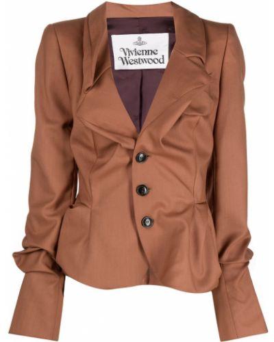 Шерстяной коричневый удлиненный пиджак на пуговицах Vivienne Westwood