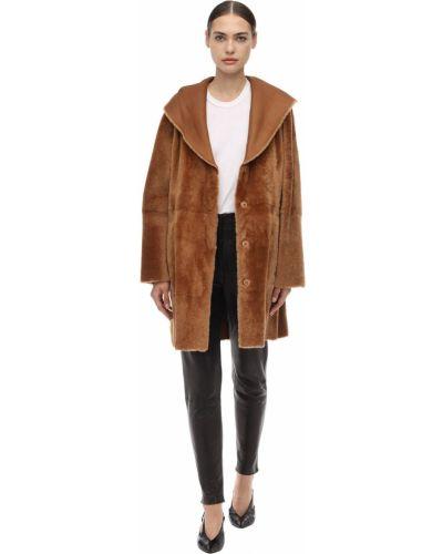 Кожаная куртка с капюшоном на овчине Drome