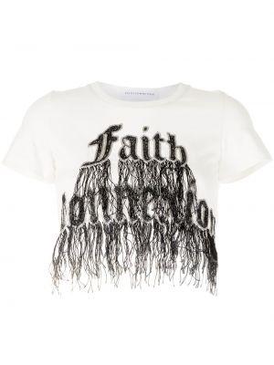 Хлопковая белая футболка с вырезом Faith Connexion