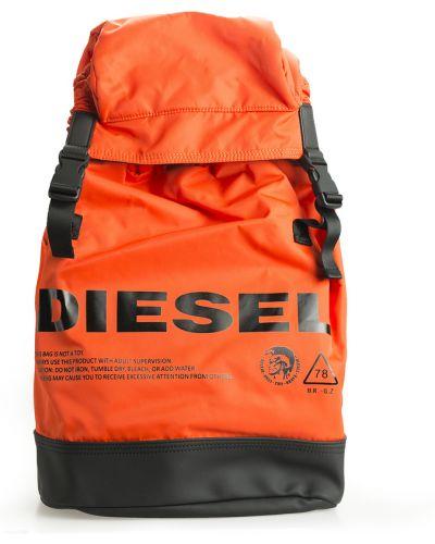 Pomarańczowy plecak z klamrą Diesel