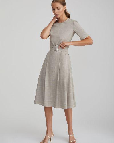Приталенное платье миди с поясом в клетку Charuel