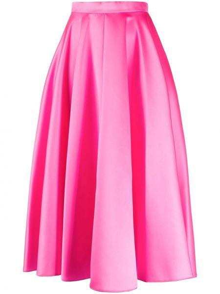 Розовая с завышенной талией расклешенная юбка миди Maison Rabih Kayrouz