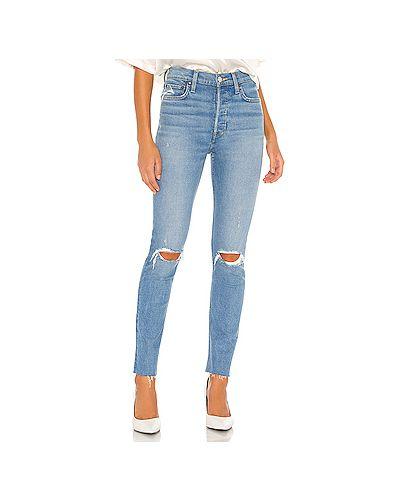 Хлопковые синие прямые джинсы на пуговицах со складками Re/done