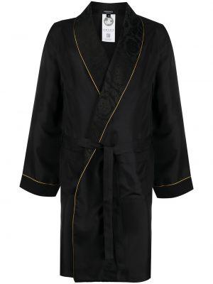 Jedwab czarny szlafrok z długimi rękawami Versace