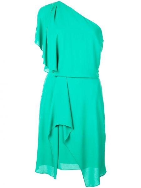 Зеленое платье на одно плечо без рукавов Halston Heritage