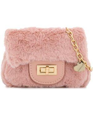 Золотистая розовая сумка из искусственного меха Monnalisa