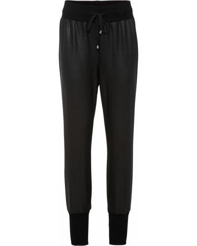 Кожаные черные джоггеры на шнурках Bonprix