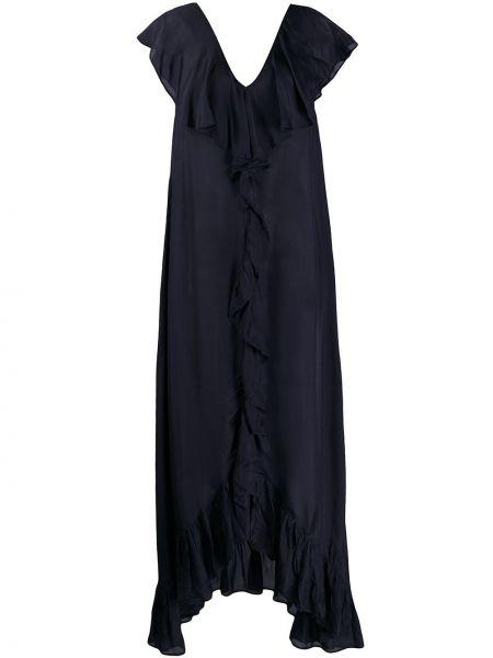 Платье с V-образным вырезом черное Mes Demoiselles