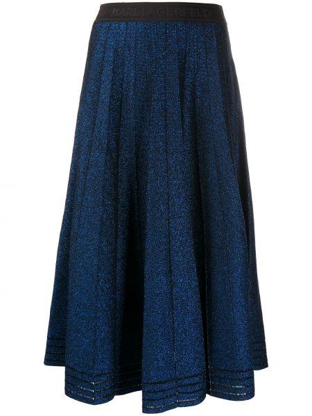 Синяя плиссированная юбка миди со складками Karl Lagerfeld
