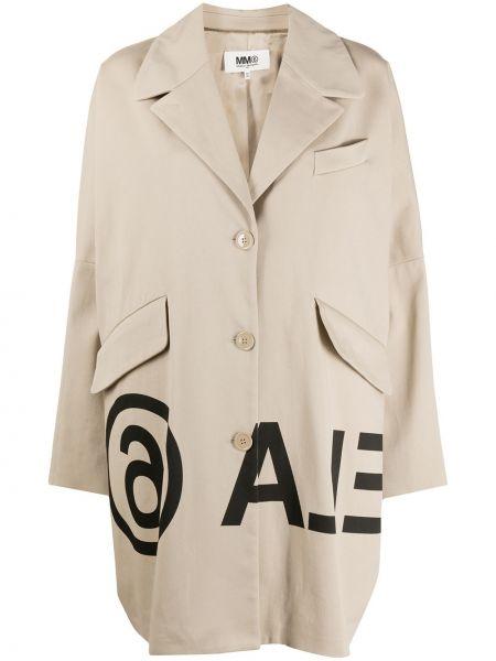 Хлопковый длинное пальто с карманами на пуговицах Mm6 Maison Margiela