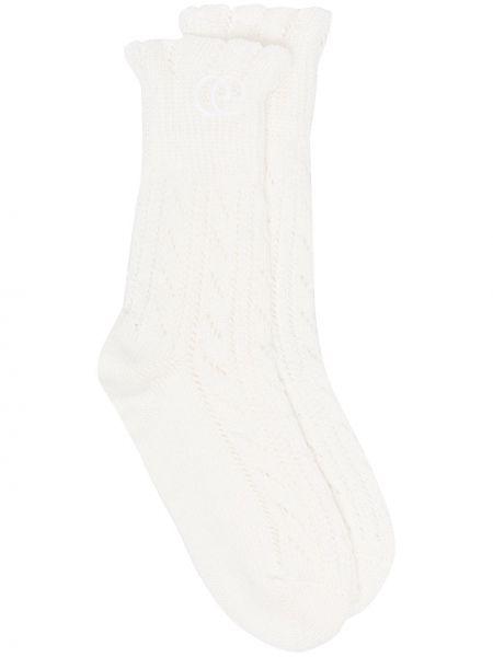 Otwarty biały bawełna bawełna skarpety Gucci