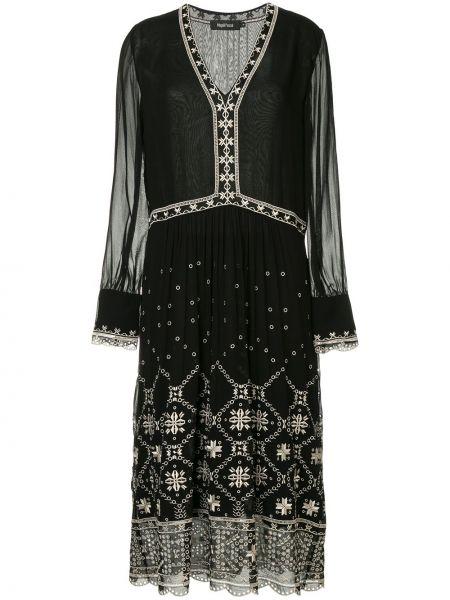 Расклешенное платье макси с вышивкой прозрачное с V-образным вырезом Magali Pascal