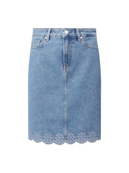 Dżinsowa spódnica z zamkiem błyskawicznym z haftem Tommy Hilfiger