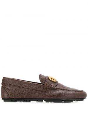 Brązowe loafers skorzane Valentino