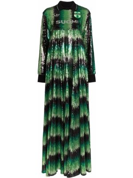 Хлопковое платье макси - зеленое Adidas