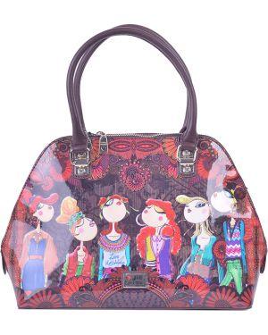 Кожаная сумка - коричневая Love Moschino