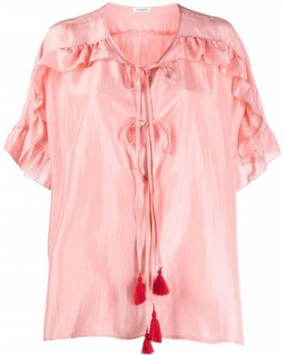 Розовая шелковая блузка со вставками P.a.r.o.s.h.