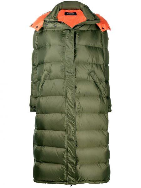Пальто с капюшоном на молнии айвори с карманами с перьями Simonetta Ravizza
