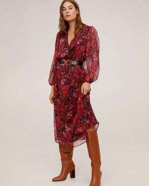 Платье миди с запахом с цветочным принтом Mango