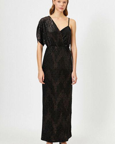 Черное зимнее вечернее платье Koton