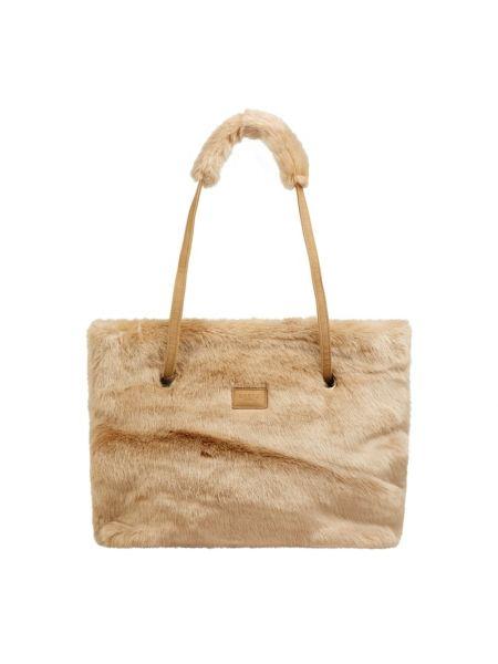 Beżowy torba na zakupy z zamkiem błyskawicznym sztuczne futro z futrem Barts