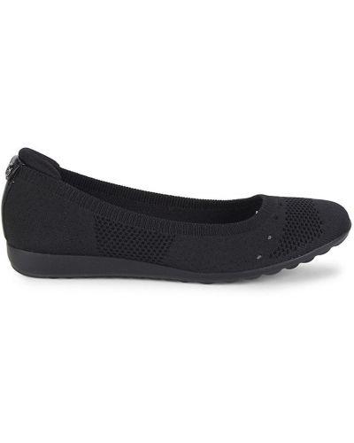 Балетки на каблуке - черные Anne Klein