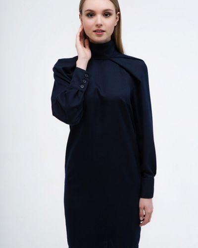 Платье осеннее синее Mirrorstore