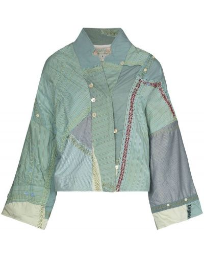 Зеленая ватная длинная куртка с жемчугом By Walid