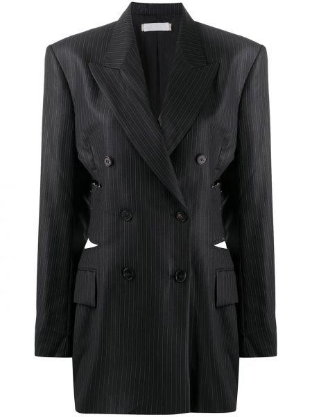 Темно-синяя ажурная длинная куртка с манжетами на пуговицах Litkovskaya