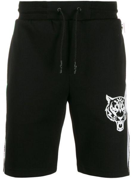 Спортивные шорты с манжетами черные Plein Sport