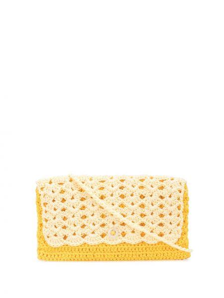 Шелковый желтый кошелек прямоугольный с карманами Camiel Fortgens