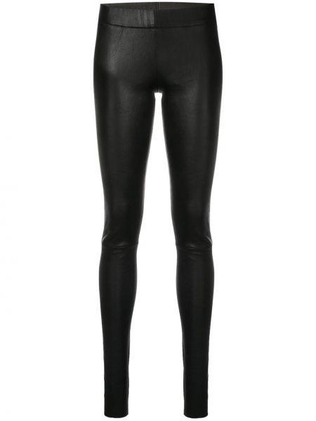 Черные кожаные леггинсы эластичные Sylvie Schimmel