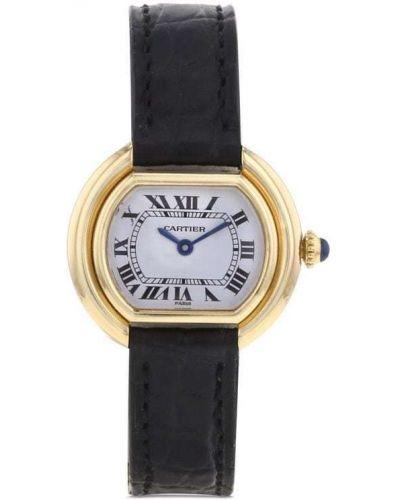 Белые кожаные часы Cartier
