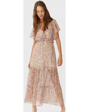 Платье миди с оборками Stradivarius
