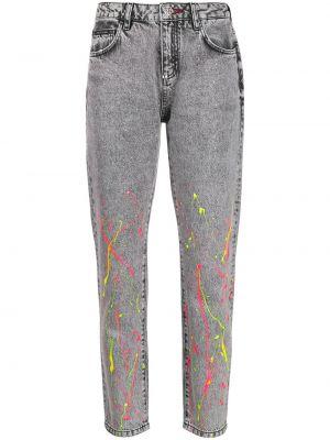 Прямые хлопковые черные прямые джинсы с вышивкой Philipp Plein