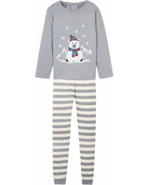 Серая пижамная пижама на резинке новогодняя Bonprix
