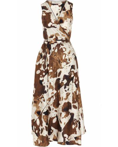 Sukienka mini boho kopertowa z długimi rękawami Golden Goose