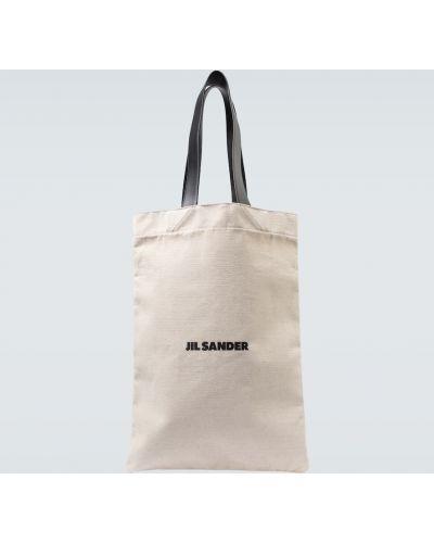С ремешком черная сумка шоппер из натуральной кожи Jil Sander
