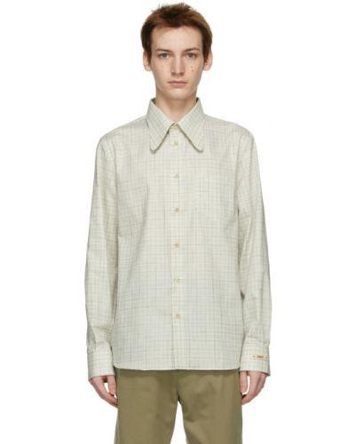 Niebieski bawełna z rękawami koszula oxford Gucci