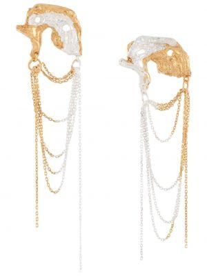 Złote kolczyki sztyfty pozłacane asymetryczne Loveness Lee