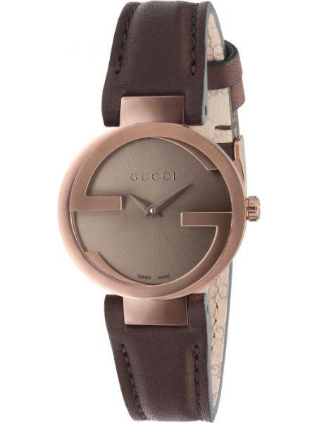 С ремешком кожаные коричневые часы на кожаном ремешке Gucci