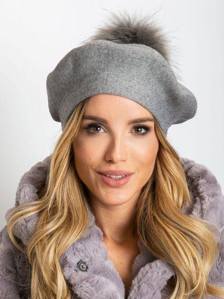 Szary beret materiałowy Fashionhunters