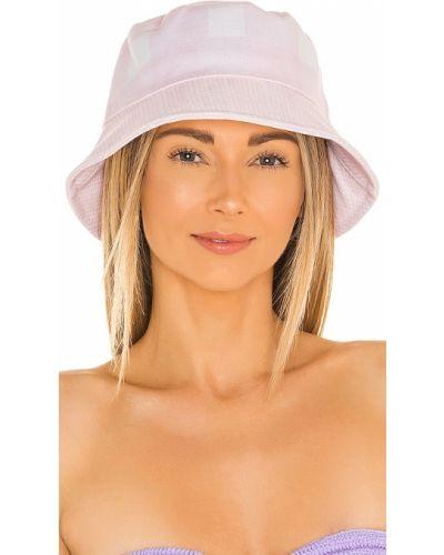Różowy kapelusz w paski z printem Lele Sadoughi