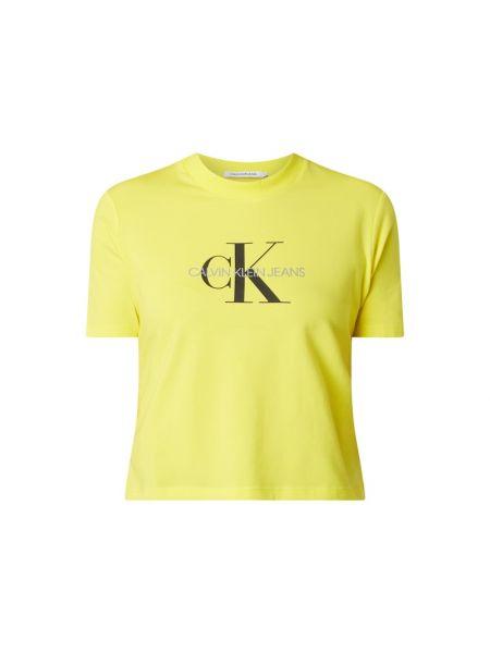 Bawełna żółty koszula jeansowa z dekoltem okrągły Calvin Klein Jeans