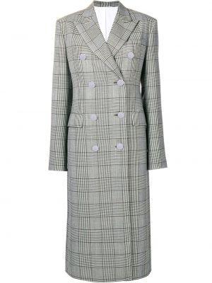 Серое шерстяное длинное пальто с капюшоном Calvin Klein 205w39nyc